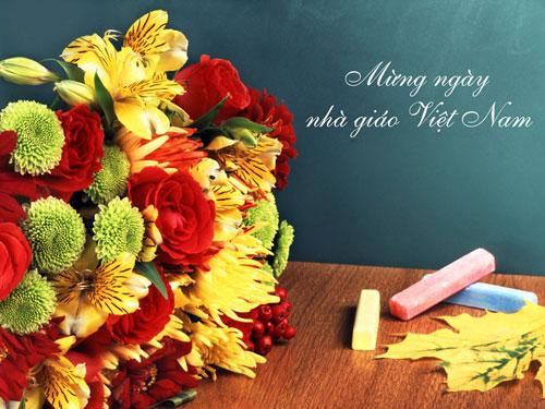 Ảnh hoa kèm lời chúc mừng ngày nhà giáo Việt Nam