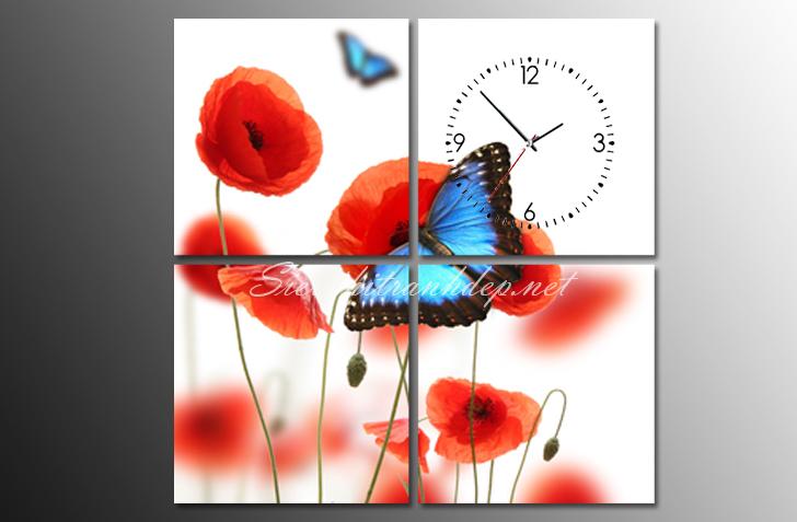 hoa poppy trong tranh dong ho